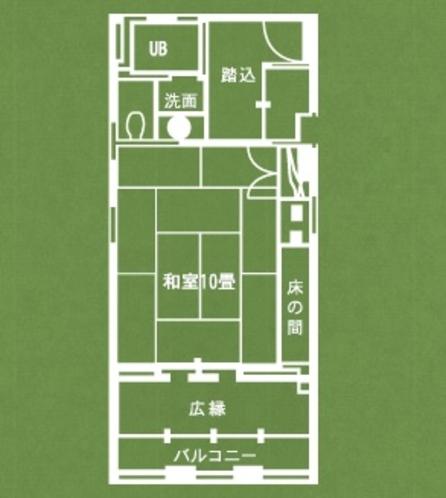 風の棟 眺望和室客室(平面図)