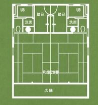 月の棟 大部屋和室20畳(平面図)