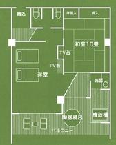 露天風呂付 特別室(平面図)
