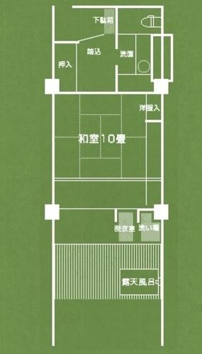 露天風呂付客室 檜・陶器風呂(平面図)