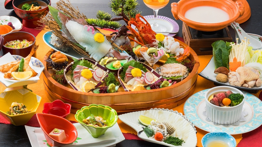 料理イメージ ※旬の食材でご用意しますので写真とは異なる場合がございます(お造りは2名様盛込みです)