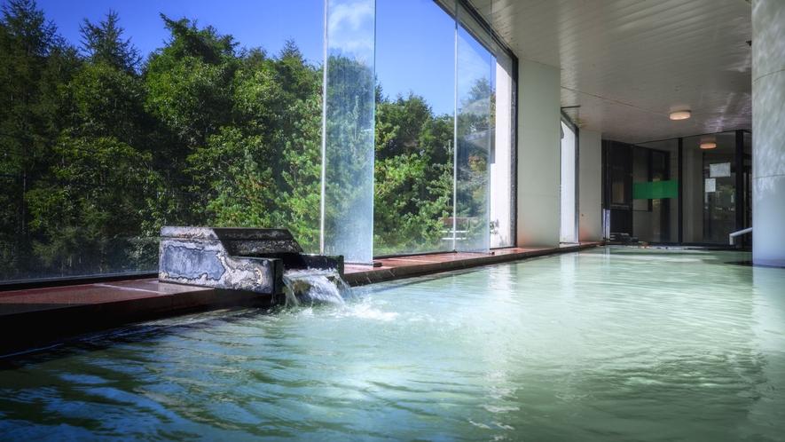 【かわせみの湯/大浴場】広々とした湯舟には源泉掛け流しの温泉がたっぷりと。