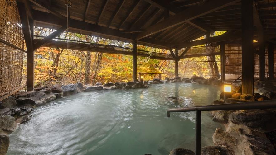 【かわせみの湯/大露天風呂】ボナリの森自慢のお風呂で、日ごろの疲れを癒してください。