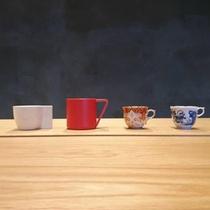 有田焼のカップたち。