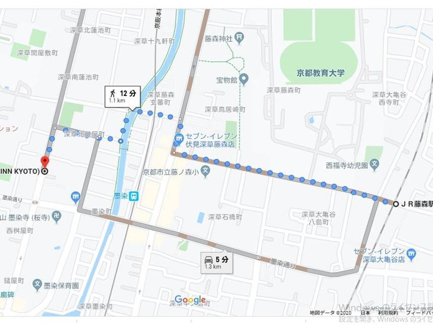 JR「藤森駅」からホテルへのアクセス