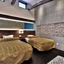 シモンズベッドを備えた、メインルーム内のベッドルーム(一例)