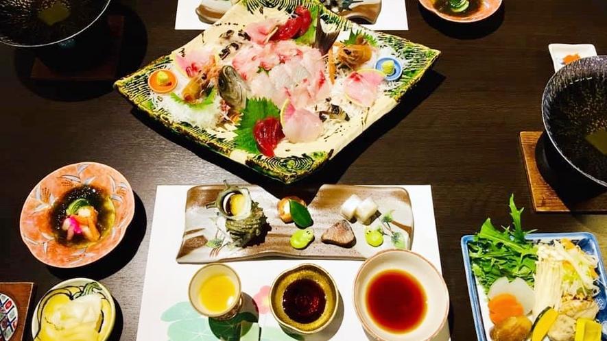 *【海の幸コース】駿河湾で獲れる新鮮な海の幸をたっぷりと使ったお料理です。