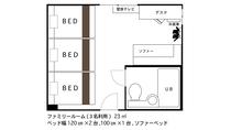 ◇ファミリールーム◇ 間取り図(3名利用時)