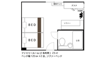 ◇ファミリールーム◇ 間取り図(2名利用時)