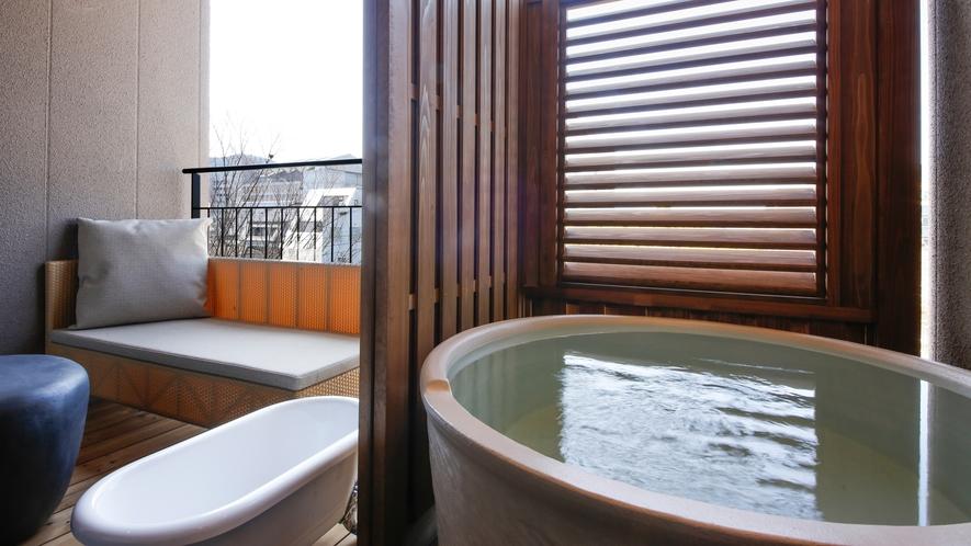 【ドッグフレンドリーフロア】専有露天風呂テラス付デラックスツイン(一例)
