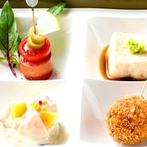 栗のクリームコロッケ☆栗と柿の白和え☆栗ゴマ豆腐☆ジビエソーセージのピンチョス☆