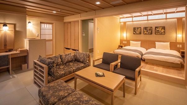プレミアム【特別和洋室】露天風呂付/畳リビング+3寝室