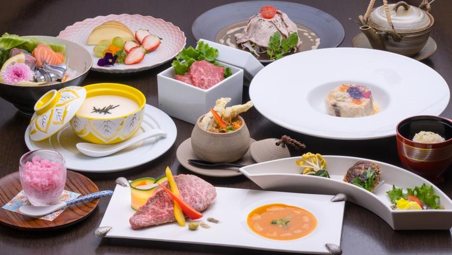 【離れ 特別室でお部屋食】お箸で頂く和フレンチ懐石鹿児島黒牛A5ランクのステーキを味わうプラン