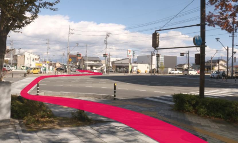 【長野駅からのルート7】 MIELPARQUE HALL の先の七瀬西信号を直 進します。