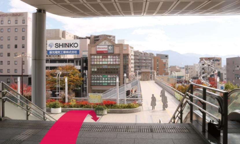 【長野駅からのルート2】進んだ先の階段を降ります。