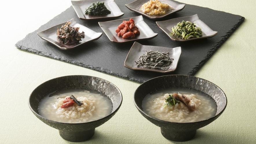 <朝食>【奈良名物】茶粥 薬味を自由にトッピングし、薬膳粥としてどうぞ。