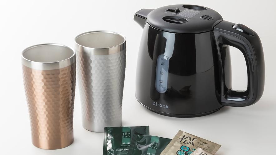 <客室設備>電気ケトル・お茶セットをご用意しております。
