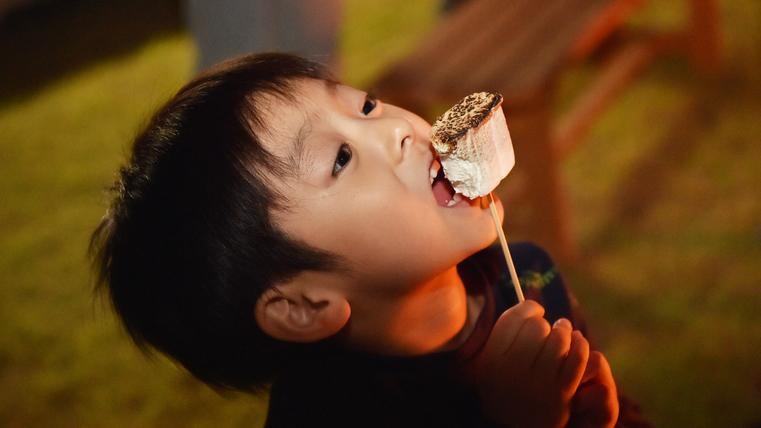*【キャンプファイヤー】焼きマシュマロにガブリ!お子様も楽しめること間違いなし♪