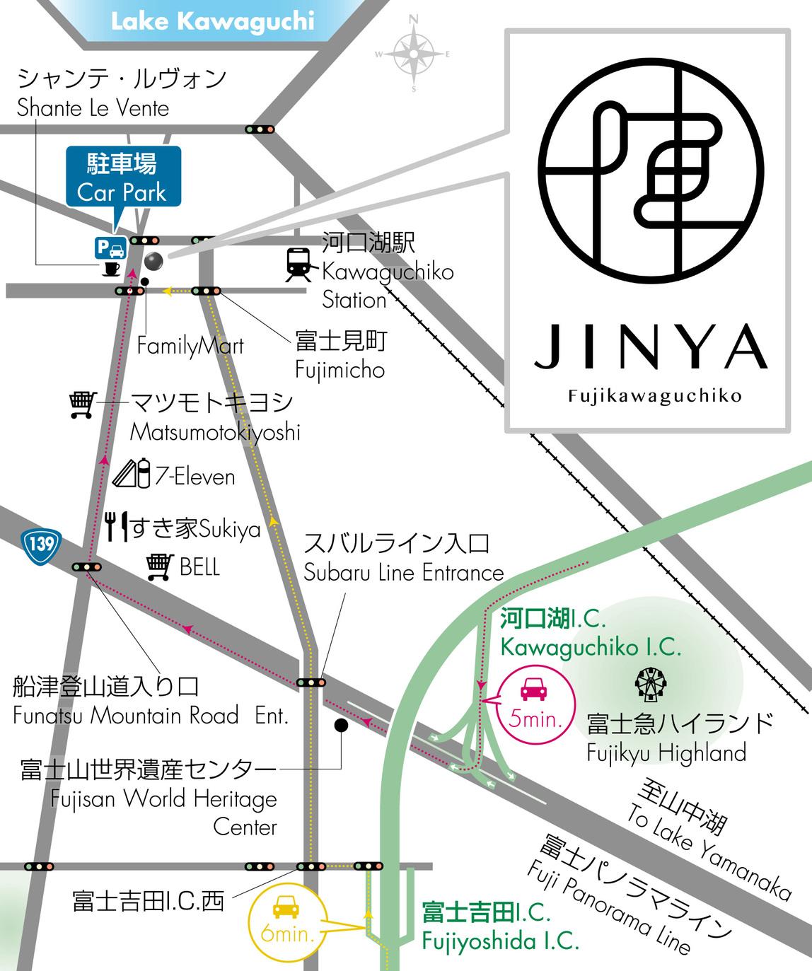 【地図】ICから車で5分でアクセス楽々