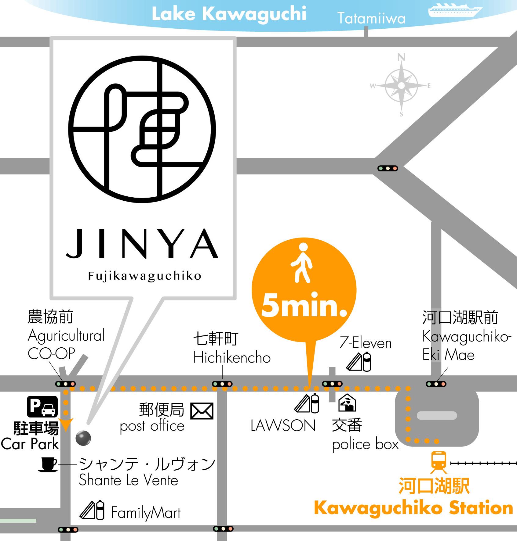 【地図】駅から徒歩5分の好立地