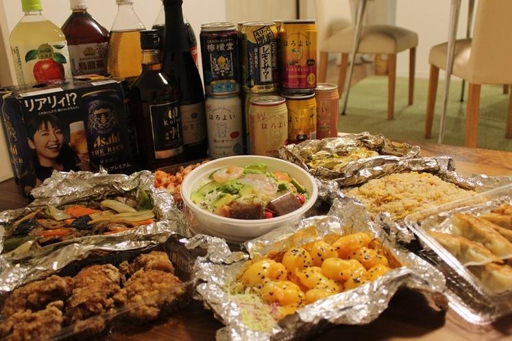 食事とお酒のデリバリーも承ります。写真は6名様梅コース