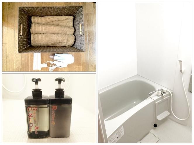 浴室 バスタオル、ヘアドライヤー、シャンプー/コンディショナーをご用意しております。