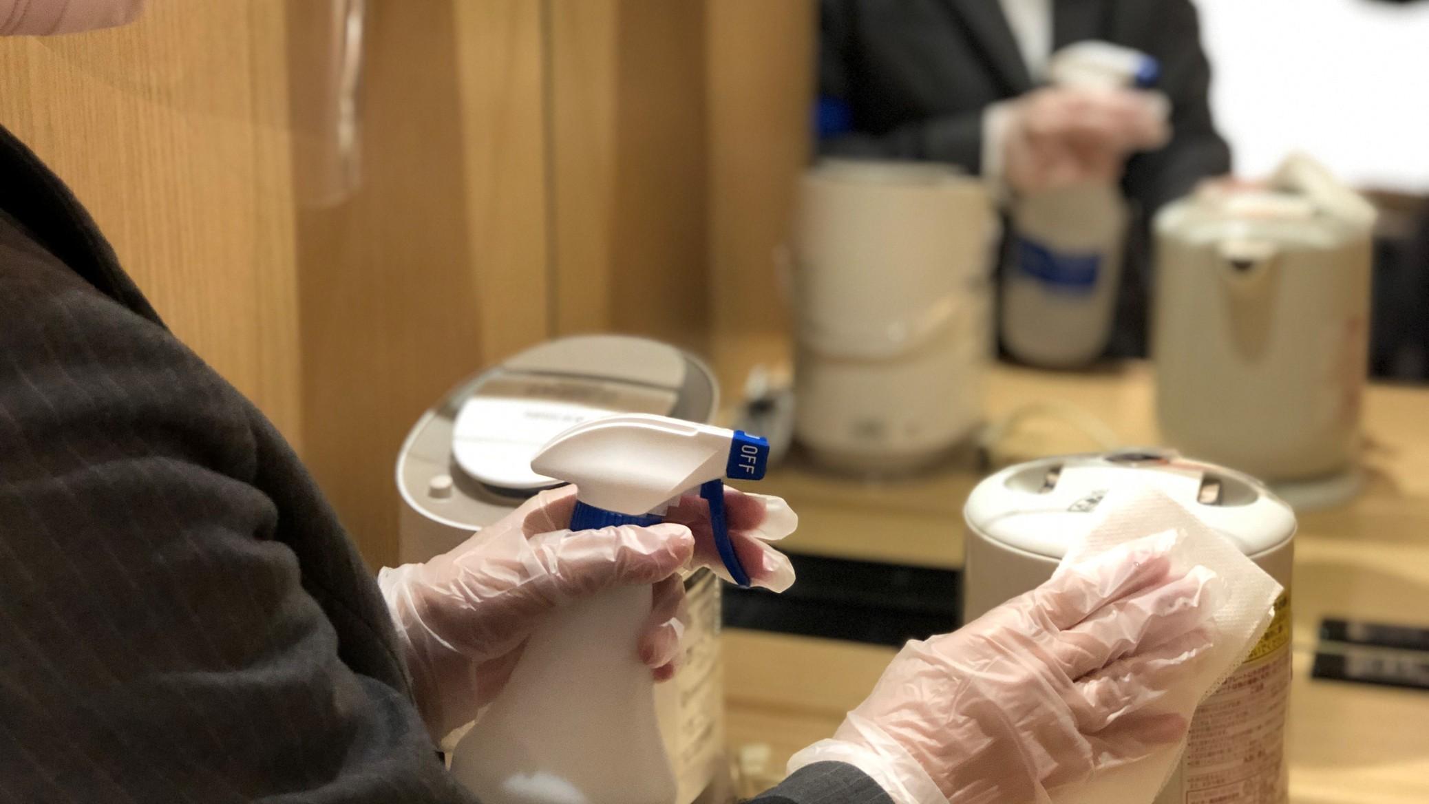 清掃完了後に客室備品等の除菌消毒を実施しております
