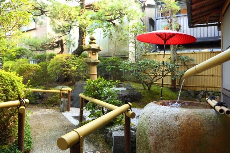 野点傘のある庭園