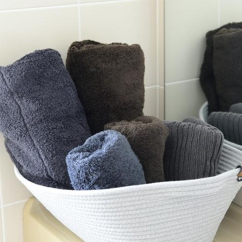 バスタオルとフェースタオルは無印良品のオーガニックタオルをご用意しています。