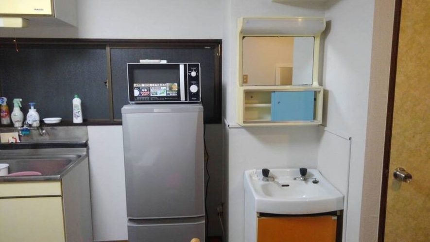Refrigerator, microwave oven, face wash basin