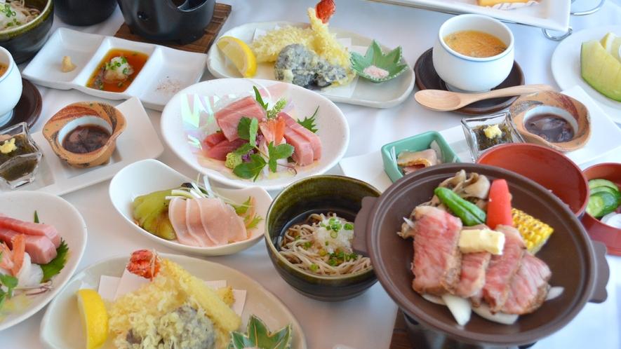 ・【夕食一例:厳選高級食材旬のお料理】天然南鮪、黒毛和牛、伊勢海老をメインとしたお食事