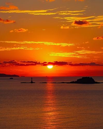 雪浦から見える夕日