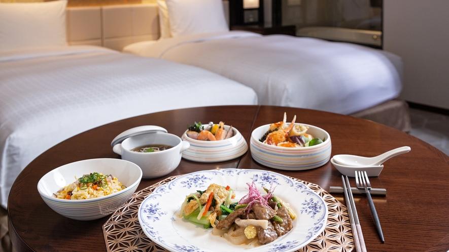 【お部屋でのご夕食(中華料理)】時間や周りを気にせず、お部屋でお召し上がりただける夕食と朝食付プラン