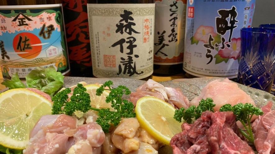 夕食は、桜島溶岩プレートで焼く鹿児島県内産地鶏各種をご堪能ください。