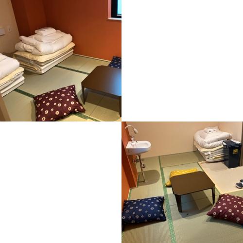 ■和トリプルルーム(シャワー・トイレ共用)/畳にマットレスとお布団を敷いてお休みただけます