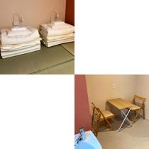 ■和ツインルーム(シャワー・トイレ共用)/畳にマットレスとお布団を敷いてお休みただけます