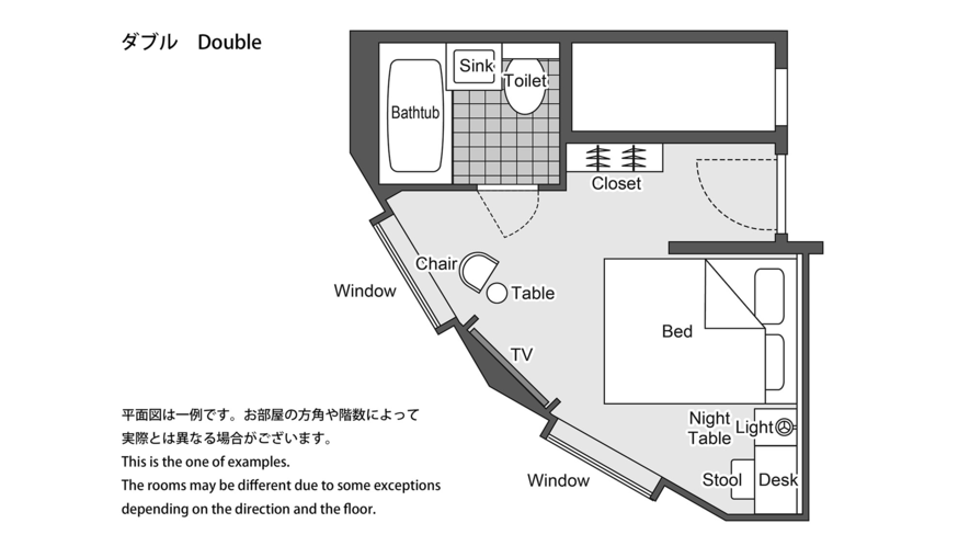 ダブル 平面図 ※一例