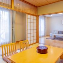 *【特別室一例】8畳のベッドルームと計20畳のソファーを配したリビング(フローリング)&和室の客室