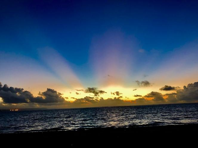 近くのビーチの朝焼け