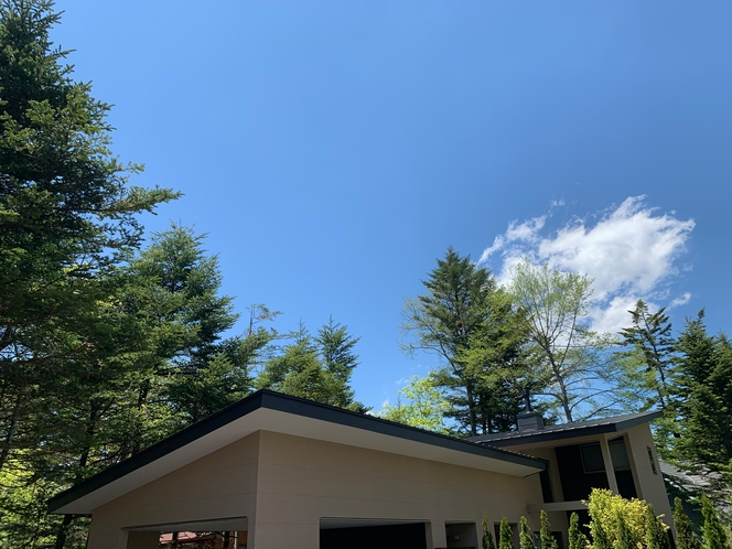 森泊と青空