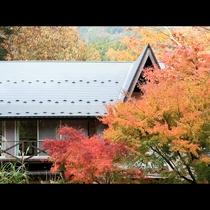 自然いっぱいの≪山荘水之元≫。四季折々の風景が楽しめます。