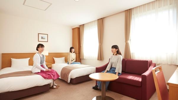 【禁煙・朝食付・温泉隣接】DXツインルーム(26平米)