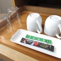 ■客室:ティーセット(緑茶・コーヒースティック)
