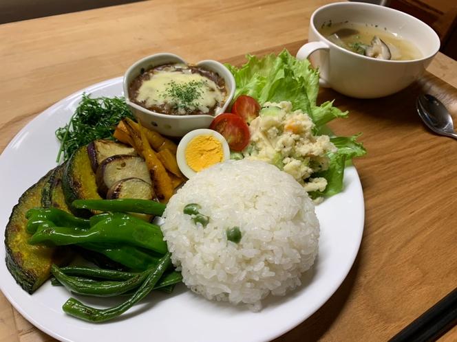 自家栽培野菜の夕食の一例