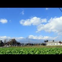 目の前の道路からは富士山も