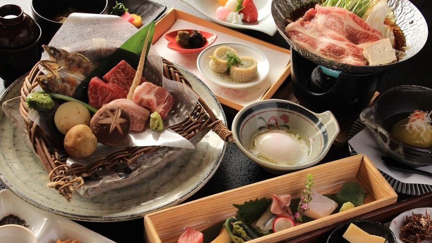 隣接する「匠の宿 深山桜庵」ご夕食 飛騨牛と豚の食べ比べ会席
