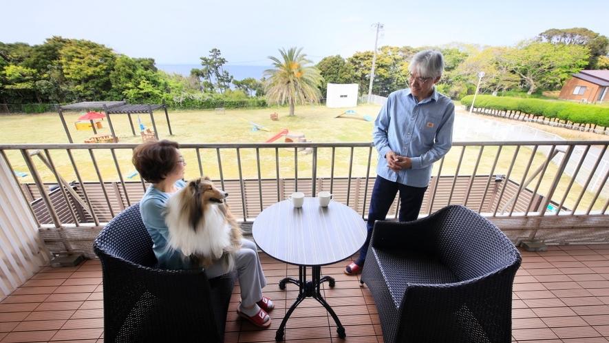 Gdタイプ一例 客室からはドッグラン越しにに見物海岸を眺められます