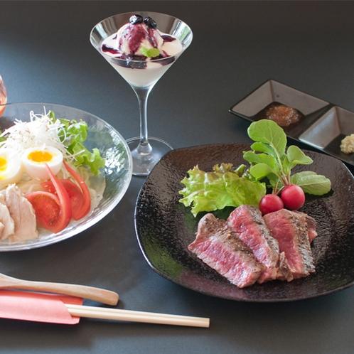 【岩手いいものセレクト】県産牛ステーキと岩手名物特製冷麺付きプラン