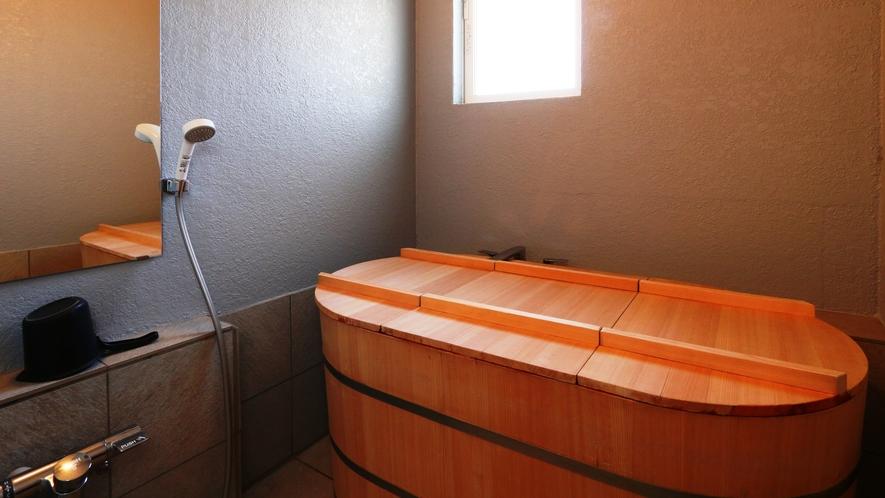 【風呂】岩風呂と樽風呂の2ヶ所。どちらも時間制貸切でご利用いただきます。