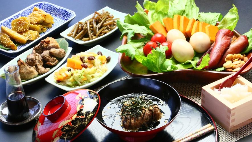 自家製野菜をた~っぷり使った富士山のエネルギーいっぱいのお夕食です!